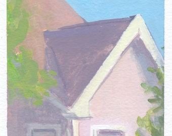 original painting on paper / gouache painting of house