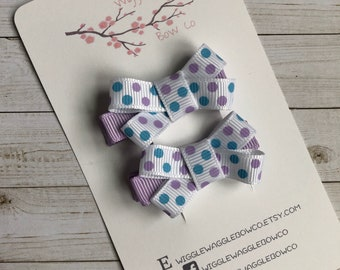 Purple blue and white hair clip bow for infants and toddlers, baby gift