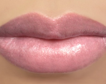 "Vegan Lipstick - ""Peony"" (semi sheer light pink) natural lip tint mineral lipstick"