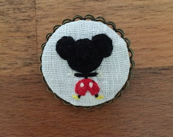 Mickey Mouse - hand embroidered brooch