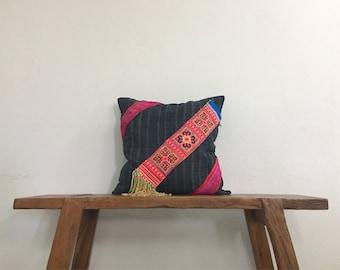 "18"" by 18"" Vintage Cushion Cover Hmong Hill Tribe Hobo Boho Ethnic Batik Thai"