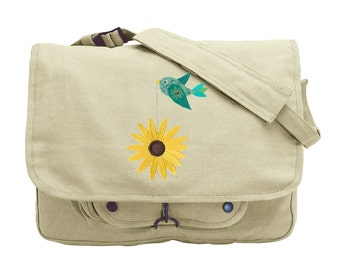 Tweet Black-eyed Susan Embroidered Canvas Messenger Bag