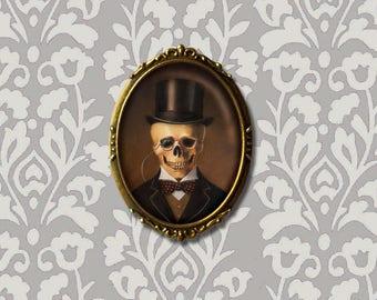 Skeleton Brooch Pin - Skull Brooch Pin - Victorian - Gothic - Steampunk - Halloween