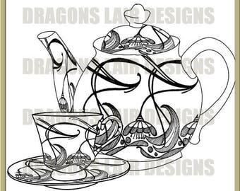 INSTANT DOWNLOAD Digi Stamps Digital Stamps Art Nouveau Teaset 2 Digital Stamp by Dragons Lair Designs - Tea, Teapot, Teacup, Cups, Saucers