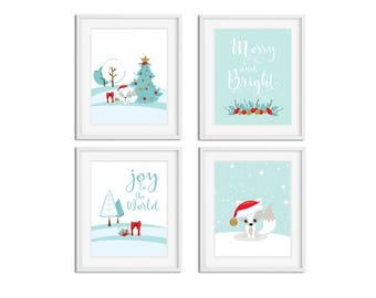 Chritsmas Wall Art Printable Cute Winter Wood Land Fox Holiday Decoration, Printable Chritsmas Quoting Decor, Kids Room Decor,