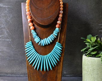 Turquoise Bib Spike Necklace