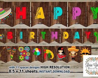 FIESTA Birthday Banner, Digital Printable Banner, FIESTA Birthday Party, Customized Printable Banner, Guitar, Pinata, Cactus, Maracas, Hat