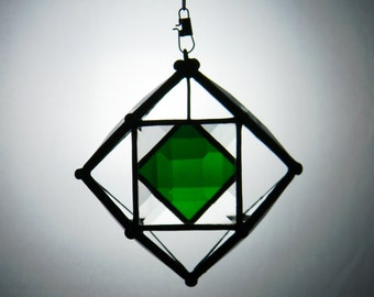 "3"" Mini Beveled Glass Orb with Green Accent"