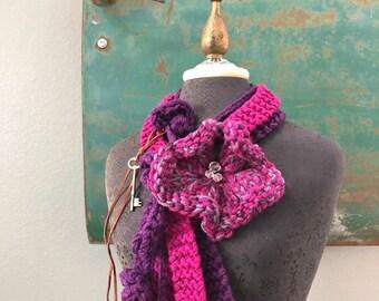Purple Heart Scarf Set in Shades of Purple - Wearable Fiber Art