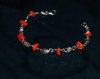 Red Jasper bracelet / natural stone Bracelet / Bracelet stainless steel / stones / gems / Semi precious