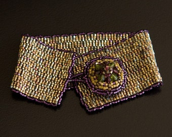 Sparkling Bronze and Purple Bracelet with Crystals Beaded Button Clasp in Olive Green and Purple. Peyote Bracelet. S131