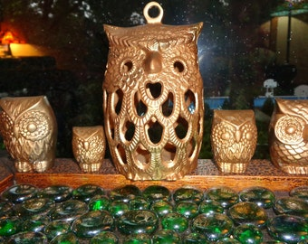 OWL WATCH OUT 4 U!  with these 5 Vintage Brass Owl Figurines in ascending or descending sizes in Good Vintage Condition for sale in One Lot