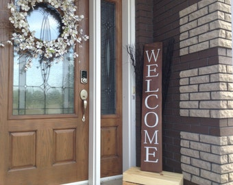 Welcome Sign for Front Door, Wood Welcome Sign, Welcome Sign Wood Rustic Finish