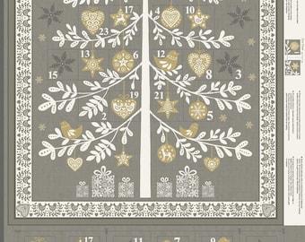 Makower SCANDI grey 1970/S tree fabric