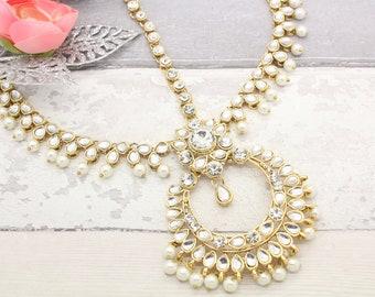 Gold Silver Indian Bollywood Statement Matha Patti Headpiece Head Chain Tikka Bridal Wedding