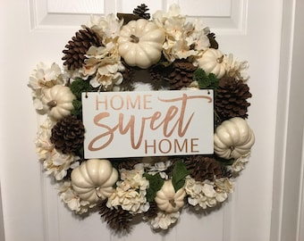 Home Sweet Home Sign | Home Sweet Home Wreath Sign | Wreath Sign | Front Door Sign | Fall Sign |