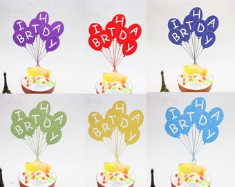 1pc Multi Colors Happy Birthday Cake Flag Topper Balloon Flags For Wedding Party Cake Baking Decoration Supplies