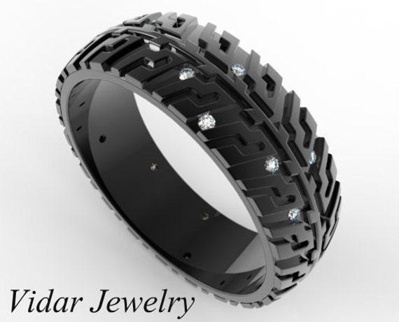 Tire Wedding Rings >> Black Gold Wedding Band Tire Tread Ring Unique Wedding Band