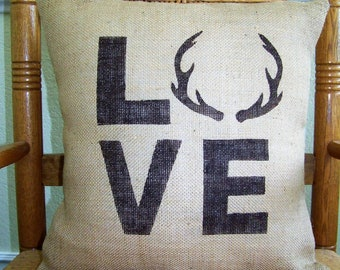 Antler pillow, Gift for Dad, Stenciled pillow, Cabin decor, Man cave, Burlap Pillow, Deer antlers, Cabin pillow, antler love, FREE SHIPPING!