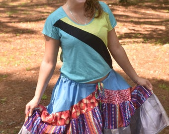 Asymmetrical Gypsy Belly Dance Skirt, Ethnic Tribal Hippie Skirt, Bohemian Patchwork Festival Skirt, Handmade Eco Clothing, Plus Size Hi-Lo