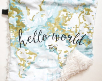World map baby blanket map blanket minky baby blanket baby hello world lovey blanket baby blanket lovey blanket baby boy bedding baby gumiabroncs Image collections