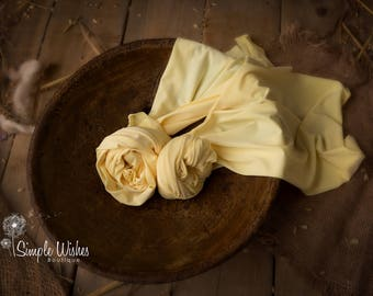 RTS, Stretch Jersey Wrap for Newborn Photography, Pastel Lemon, UK Seller