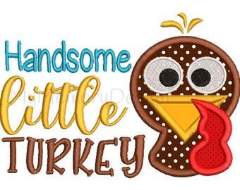 Handsome Little Turkey Embroidery Design - Thanksgiving design - Turkey applique - Machine embroidery design - INSTANT DOWNLOAD 4x4 5x7 6x10