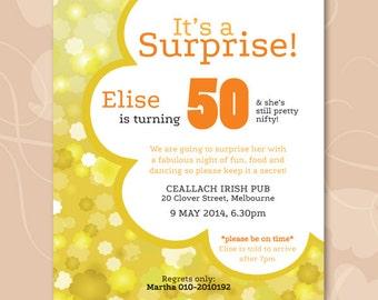 Flower Power Birthday Surprise Party Invitation DIGITAL (PDF)