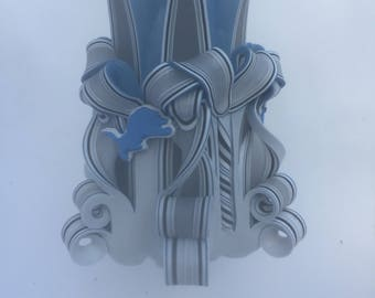 Detroit Lions Inspired Carved Pillar Candle