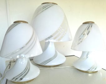 Mushroom lamp swirl murano glass 3 pcs Made in Italy 1960s