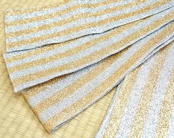 Japanese obi belt gold silver glitter stripes flawless, gold hanhaba kimono belt, vintage obi belt, Japanese obi belt, real kimono obi light