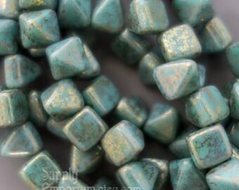 Czech Glass 6mm Turquoise Lumi Pink Pyramid Stud, 3291, Turquoise Lumi Pink 6mm Pyramid Stud Beads, 25 Beads, Turquoise Lumi Pink Stud