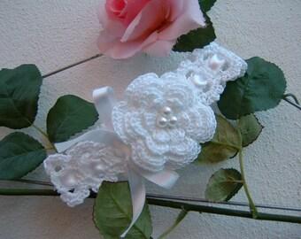 Newborn Crochet Hair Band-baptismal hair ribbon-size 0-3 months, 3-6 months-white cotton band