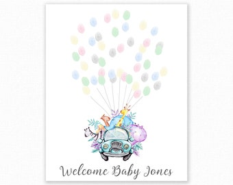 Baby Shower Fingerprint Guest Book - Elephant Giraffe Baby Shower - Personalized Alternative Guest Book - Fingerprint Tree - Jungle Car