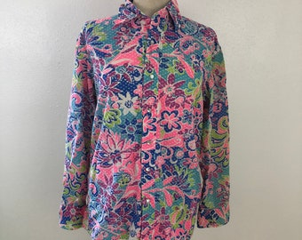 Retro floral print button up blouse 70's collared shirt Women's medium to large