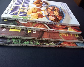 Lot of 4 Vintage Better Homes and Gardens cookbooks, 1970s Classics - Fondue, Budget, Jiffy and Crockery