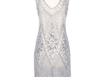Ivory & Silver Beaded Vintage Flapper 1920's Wedding Dress,The Great Gatsby, Downton Abbey, Vintage Bride, Boudoir, Charleston, ~