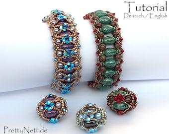 "Beading Pattern - 2 in 1 Beading Tutorial - Anleitung Armband - Beaded Bead ""Balrade"""