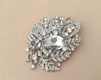 Large Bridal Brooch.Large Crystal Brooch.SLIGHT SECOND BROOCH.Silver Rhinestone Brooch.Silver Crystal Brooch.flowers.leaf.leaves.extra large