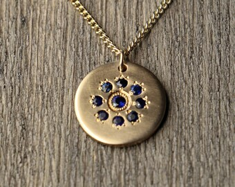 Royal Blue Sapphire Necklace - Gold Filled - Hand Engraved - Tiny