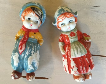 Adorable Bisque Dutch Boy and Girl Figurines