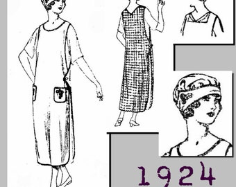 "Ladies' Slip Over Apron and Cap (40"" bust)  - Vintage Reproduction PDF Pattern - 1920's - made from original 1924 pattern"