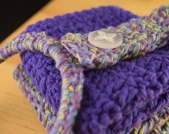 Purple Wash Cloth and Towel Hanger Set, Crochet, Dish Cloths, Face Cloths, Cleaning, Kitchen and Bathroom, Gifts Under 20