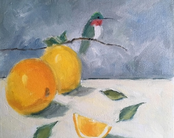 "Original oil painting, hummingbird and oranges, impressionistic still life, 12"" x 12"", stretched canvas with painted sides, ready to hang"