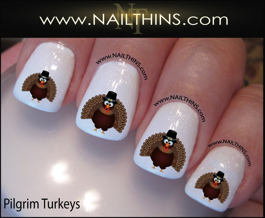 Thanksgiving nail decals turkey nail art by nailthins zoom prinsesfo Image collections