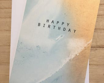 Blue & Gold Marble Birthday Card