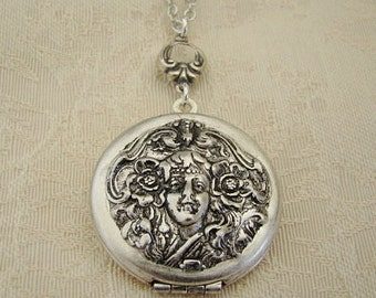 Round Silver Locket Valentines Day Gift Wedding Bride Bridesmaid Nymph Mother Wife Sister Daughter Anniversary Gift Photo Pictures - Lucinda