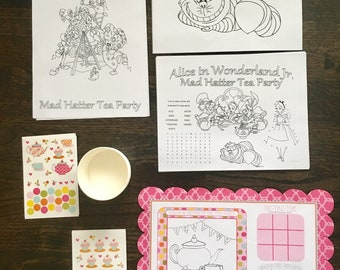 Alice in Wonderland Tea Party Placemats, Tea Cups & Coloring - Kids Activity Favor Bundle