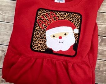 Girls Santa Shirt, Girls Christmas Shirt, Custom Christmas Shirt, Girls Santa Christmas Shirt