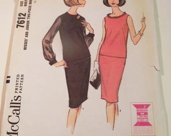 "1960s Drop waist dress Skirt Blouse french darts bateau neckline vintage sewing pattern McCalls 7612 Size 12 Bust 32"" UNCUT FF"